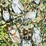 Watercolor - Screech Owl And Forest Design Poster