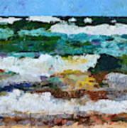 Waves Crash - Painting Version Poster