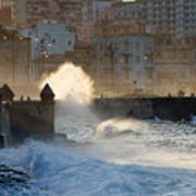 Waves Crashing Against The Sea Wall Of Poster