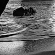 Waves From The Cave In Monochrome Poster
