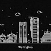 Wellington Skyline Travel Poster Poster
