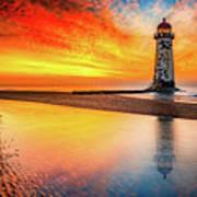 Welsh Lighthouse Sunset Poster
