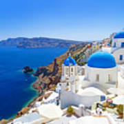 White Architecture Of Oia Village On Poster