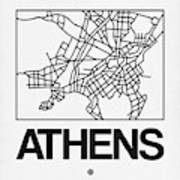 White Map Of Athens Poster