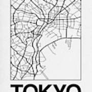 White Map Of Tokyo Poster
