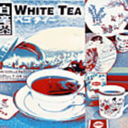 White Tea In Blue And White Poster