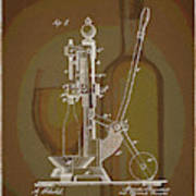 Wine Bottle Corking Patent Poster