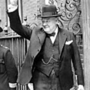 Winston Churchill Showing The V Sign Poster