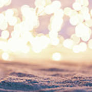 Winter Background With Snow And Fairy Lights. Poster