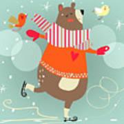 Winter Cartoon Bear Poster