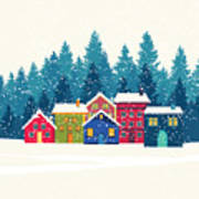 Winter Mountain Houses. Winter Landscape Poster