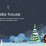 Winter Night, House In The Mountains Poster