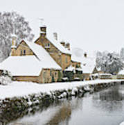 Winter Snow In Lower Slaughter Village Panoramic Poster