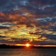 Winter Sunset Over Grand Island Poster