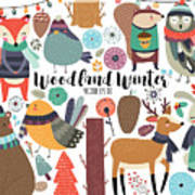 Winter Woodland Animals Cute Forest Poster