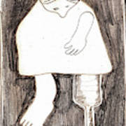 Woman With A Wooden Leg Drawing Poster