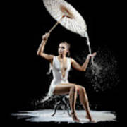 Woman With Milk Dress Poster