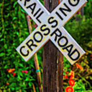 Wooden Railroad Crossing Sign Poster