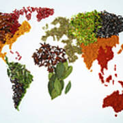 World Map With Spices And Herbs Poster