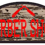 Worn Barber Shop Wooden Store Sign Poster