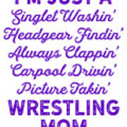 Wrestling Singlet Washin Mom Purple Gift Dark Poster