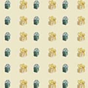 Yellow And Green Present Pattern Poster