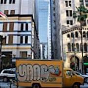 Yellow Graffiti Truck Downtown La Poster