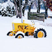 Yellow Tractor In The Snow Poster