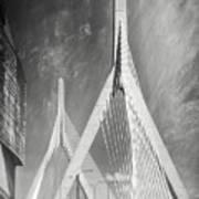 Zakim Bridge Boston Massachusetts Black And White Poster