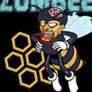 Zombee Zombie Bee Halloween For Beekeeper Apiarist Dark Light Poster