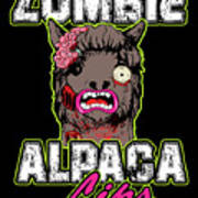 Zombie Alpaca Lips Halloween Pun Llama Alpacalypse Dark Poster