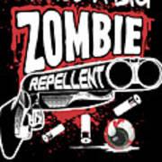Zombie Repellent Halloween Funny Gun Art Dark Poster