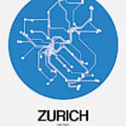 Zurich Blue Subway Map Poster