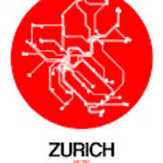 Zurich Red Subway Map Poster