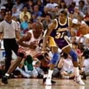 Magic Johnson and Michael Jordan Poster