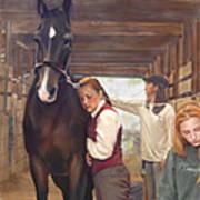 Aisle Hug Horse Show Barn Candid Moment  Poster