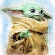 Baby Yoda / The Child / Grogu watercolor Poster