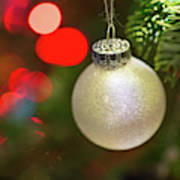 Christmas Ornaments With Bokeh Background Poster