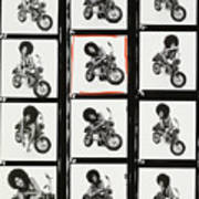 Contact Sheet of Marsha Hunt with a Motorbike Poster