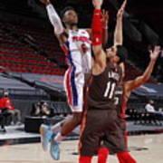 Detroit Pistons v Portland Trail Blazers Poster