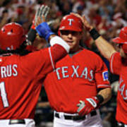 Elvis Andrus, Michael Young, And Josh Hamilton Poster