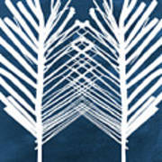 Indigo and White Leaves- Abstract Art Poster