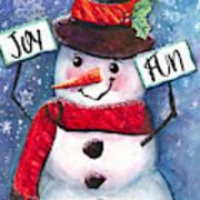 Joyful and Fun Snowman Poster
