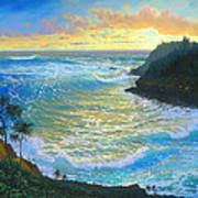 Ka Puka Alua Sunrise At Piahi  AKA Jawz  Painted At Actual Location On Maui Poster