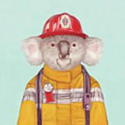 Koala Firefighter Poster