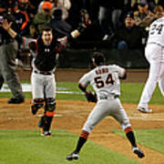 Miguel Cabrera, Sergio Romo, and Buster Posey Poster