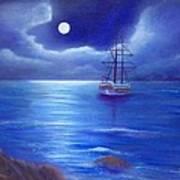 Night Seascape Poster