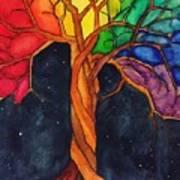 Rainbow Tree with Night Sky Poster