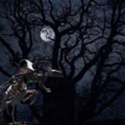 Raven and Rat Skeleton in Moonlight - Halloween Poster