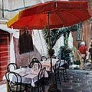 Red Umbrella Outdoor Cafe Poster